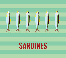Sardines drawing on green background