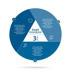 Blue flat shutter diagram vector template business presentation