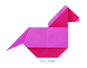 Origami pink horse