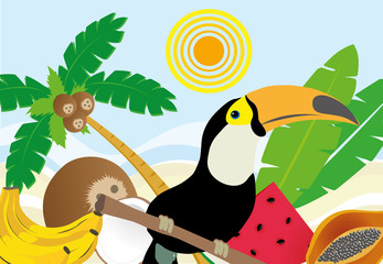 Tropical landscape of a Brazilian beach with toucan and fruits