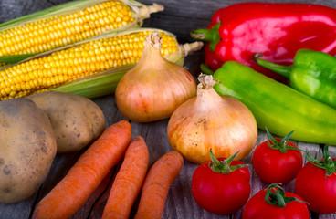 organic vegetable on wood table