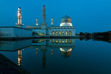 Reflection of Kota Kinabalu city mosque in Sabah,Malaysia,Borneo
