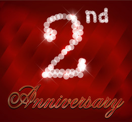 2 year happy birthday card, 2nd anniversary sparkles