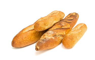 Baguettes isolated on white background