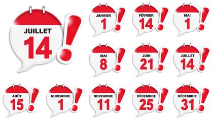 bulles almanach : jours fériés français