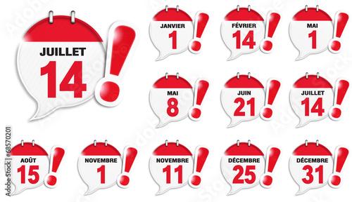 bulles almanach : jours fériés français - 68570201