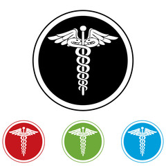 Emergency black ,red,green and blue  web icons.