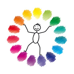 Farbkreis mit Strichmännchen