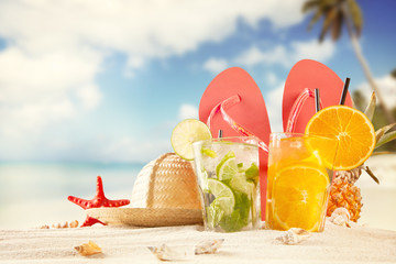 Summer drinks with beach accessories