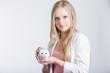 canvas print picture - Mädchen mit Sparschwein