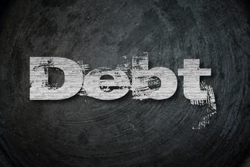 Debt,  concept sign