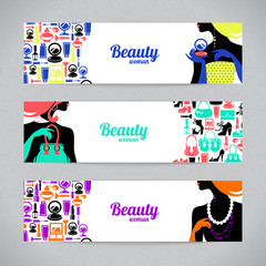 Banners with stylish beautiful shopping woman silhouette