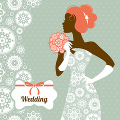 Wedding invitation. Beautiful bride silhouette