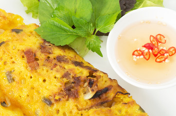 Banh Xeo, Vietnamese pancake close up shot with vegetables and f