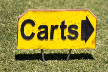 pointing sign with the lettering carts.