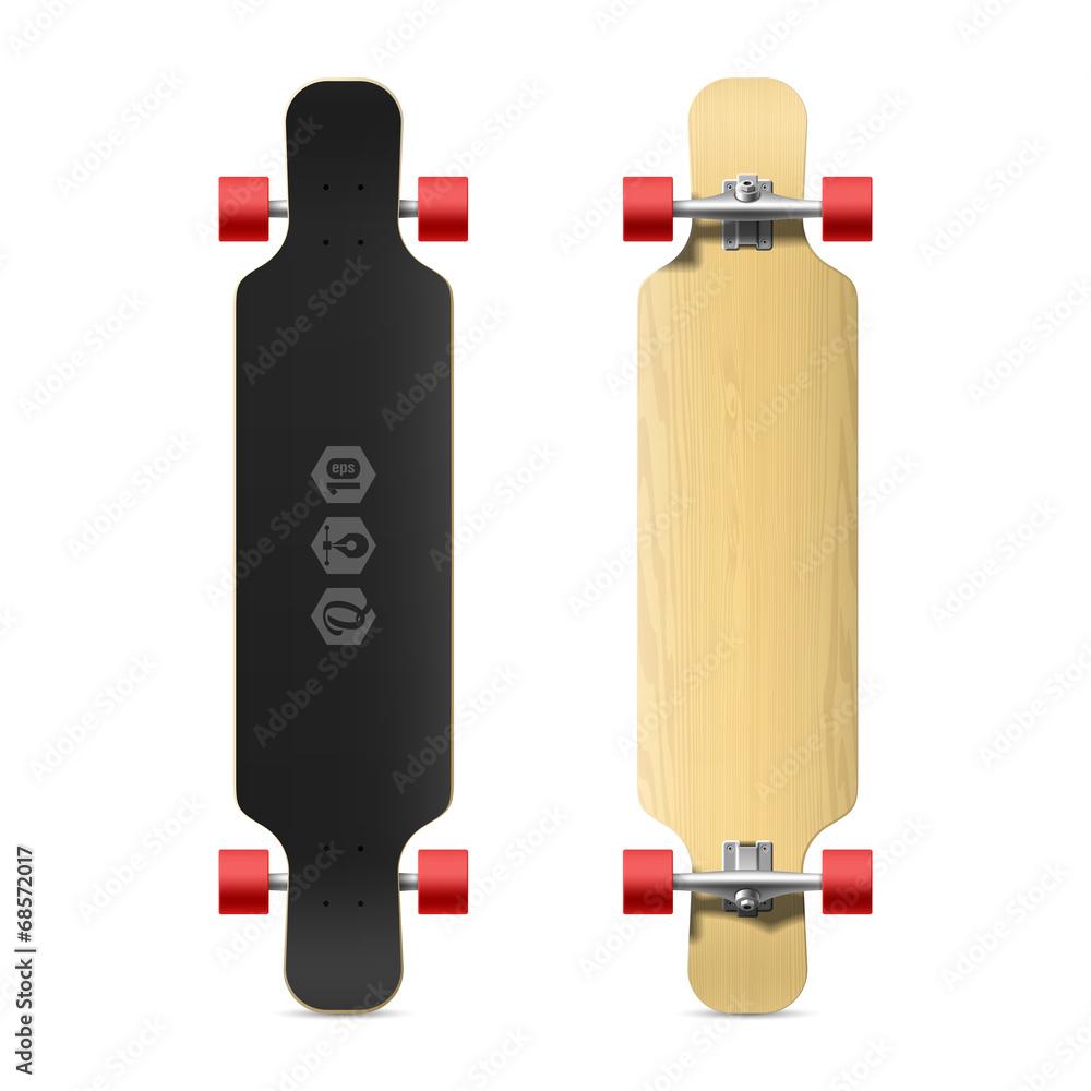 Photorealistic Longboard Skateboard Wall Sticker | Wall Stickers