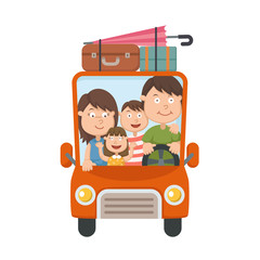 Family traveling in car vector
