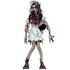 Zombie girl stained with blood