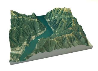 Vista aerea del lago di Como, Laglio mappa in 3d