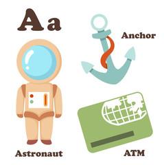 Alphabet A letter. Astronaut,Atm,Anchor