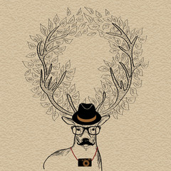 Hipster reindeer greeting card