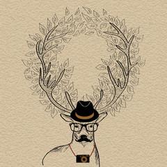 Hipster reindeer greeting card