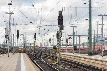 The railway of train with traffic light of Frankfurt Main Statio
