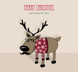 Merry Christmas and happy new year hipster reindeer