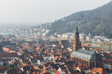 The cityscape of Heidelberg city with River Neckar and Church of