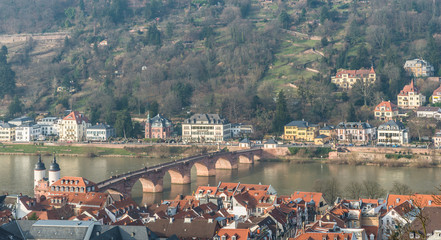 The cityscape of Heidelberg city with the old bridge cross the R