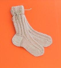 Two knitted socks