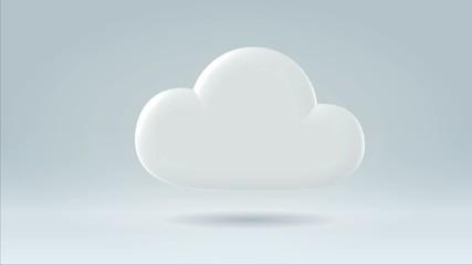 White data storage cloud slowly floating