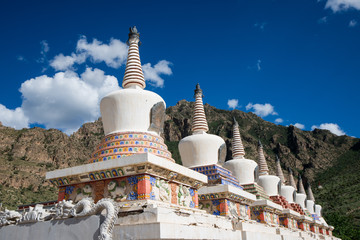 Tibetan white Pagodas In a row