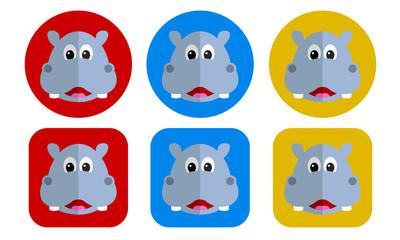 Hippopotamus flat icon