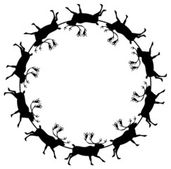 Round frame with deers