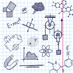 Vector hand draw phisics elements