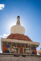 Tibetan white Pagodas in sunshine