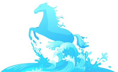 Jumping horse out of water vector