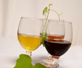 wine glasses leaves for background