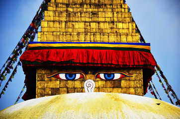 Boudhanath or Bodnath Stupa with Buddha eyes or Wisdom eyes