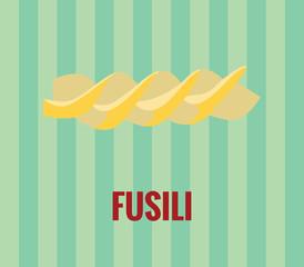Fusili (italian pasta) drawing on green background