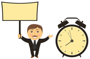 businessman with board in hand clock