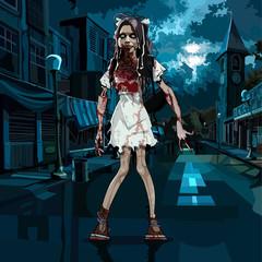 Bloody girl in halloween night