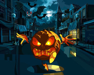 Wicked pumpkin running down the street of the old town.