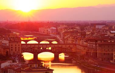 Ancient Italian bridge in sunset light