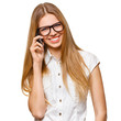 Happy smiling woman talking on the mobile phone isolated