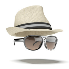 white hat with sunglasses