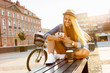 Leinwanddruck Bild - Young stylish woman in a city street