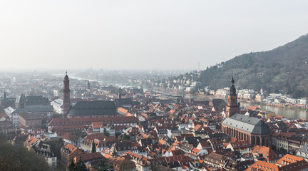 The cityscape of Heidelberg city with River Neckar, Church of th