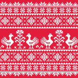 Ukrainian Slavic folk art knitted red emboidery pattern - 68576483
